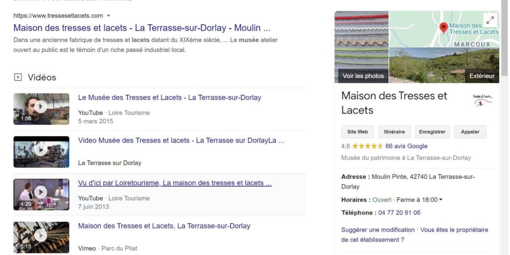 Fiche Google business du musée du lacets
